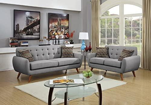 Poundex Bobkona Sonya Linen-Like 2 Piece Sofa and Loveseat Set, Grey