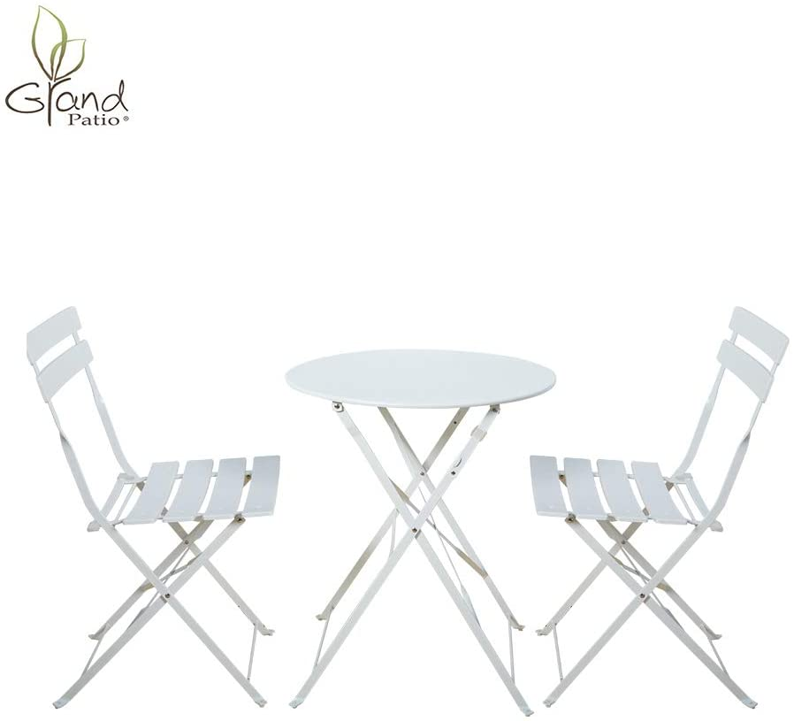INOVIX Premium Steel Patio Bistro Set, White