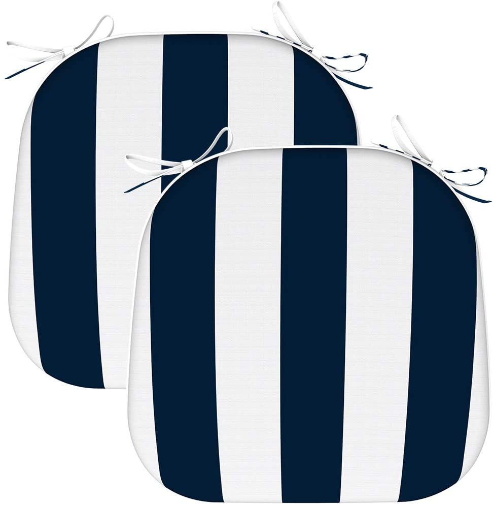 EAGLE PEAK Indoor Outdoor Seat Cushion with Ties, Decorative Chair Pads for Office Decoration Patio Garden Furniture Home Chair Cushions, Set of 2, 16x17 inch, Cabana Navy