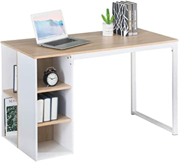 Office Computer Writing Desk with Storage, Large Work Desk with 5 Shelves Students Study Table Home PC Laptop Table Modern Wood Workstation with Metal Legs, Beech White(43.3 x 19.7 x 29.5 inches)