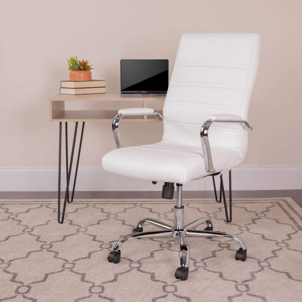 Flash Furniture High Back Office Chair   White LeatherSoft Office Chair with Wheels and Arms, BIFMA Certified