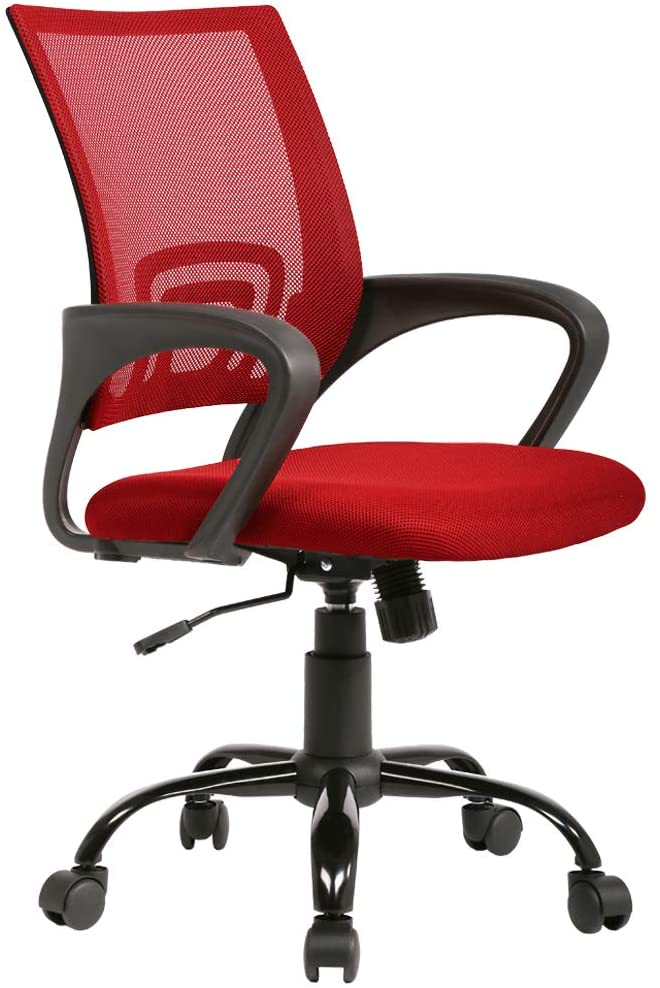 Office Chair Ergonomic Desk Chair Mesh Computer Chair Back Support Modern Executive Adjustable Rolling Swivel Chair for Home&Office, Red