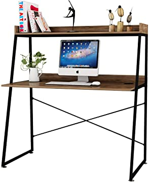 DESIGNA Computer Desk with Bookshelf, Study Writing PC Laptop Table Workstation, 48 Inches Space Saving Office Home Desk Multi-Functional, Modern Industrial Style,Archaize Brown