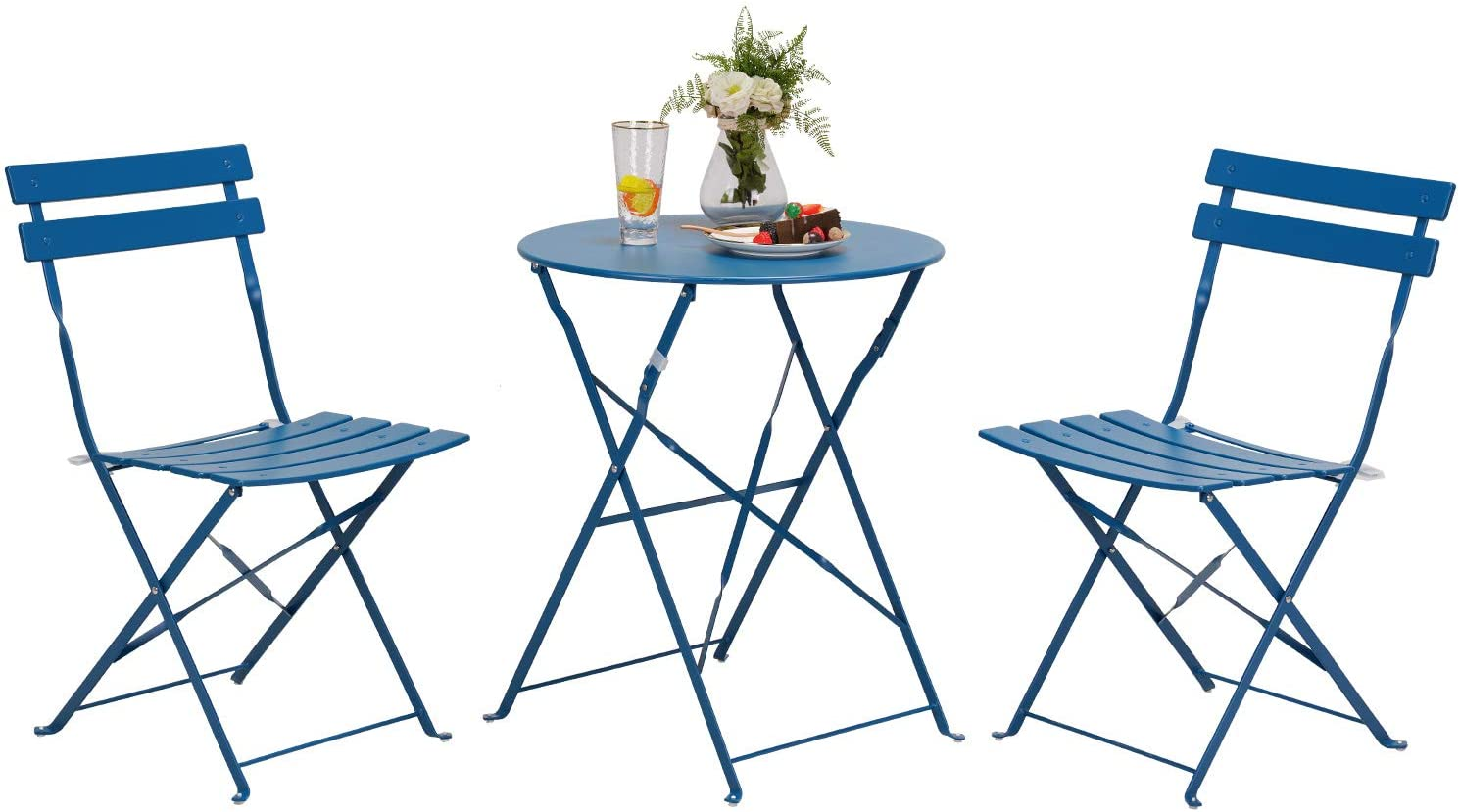 Grand patio Premium Steel Patio Bistro Set, Folding Outdoor Patio Furniture Sets, 3 Piece Patio Set of Foldable Patio Table and Chairs, Peacock Blue