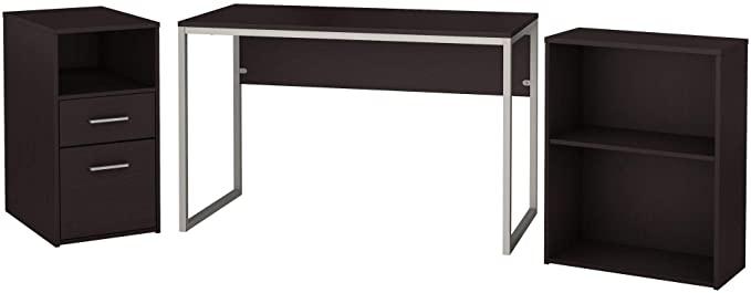 Bush Furniture Torte Computer Desk with File Cabinet and Bookcase, Espresso Oak