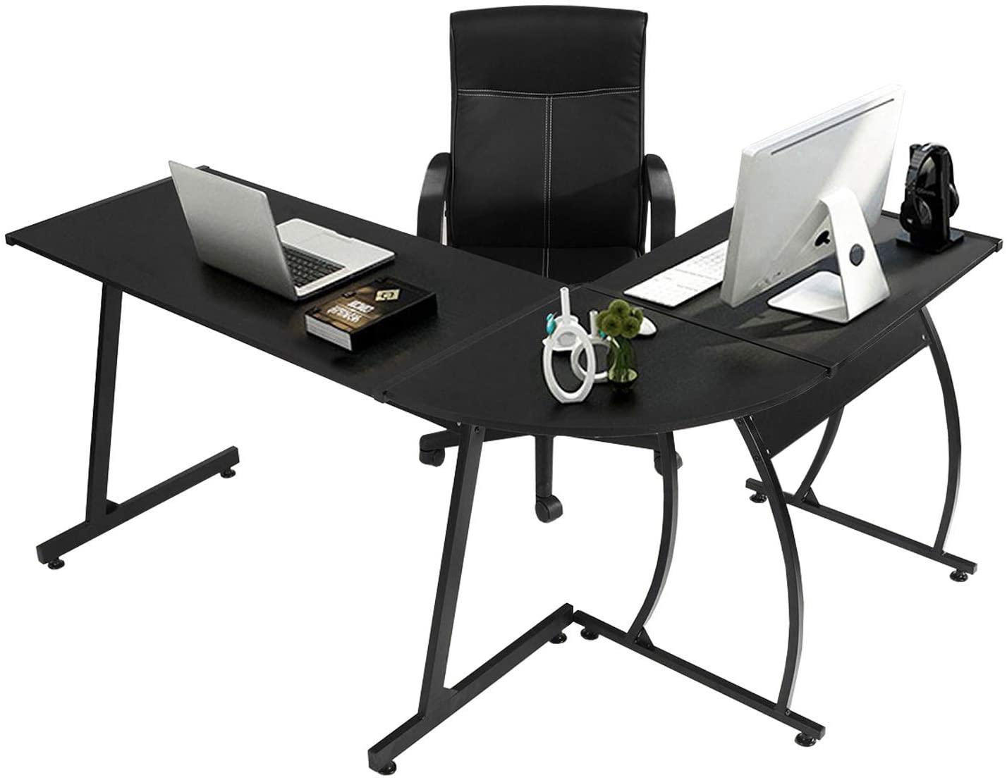 GreenForest L-Shaped Corner Desk Computer Gaming Desk PC Table,Home Office Writing Workstation 3-Piece,Black