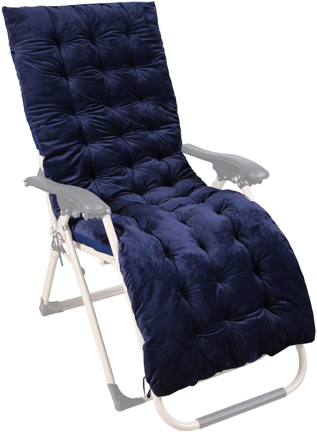 CAMPMOON Patio Lounge Chair Cushion for Outdoor Indoor Furniture, Thick Chaise Lounger Cushions Rocking Chair Mattress, Navy Blue