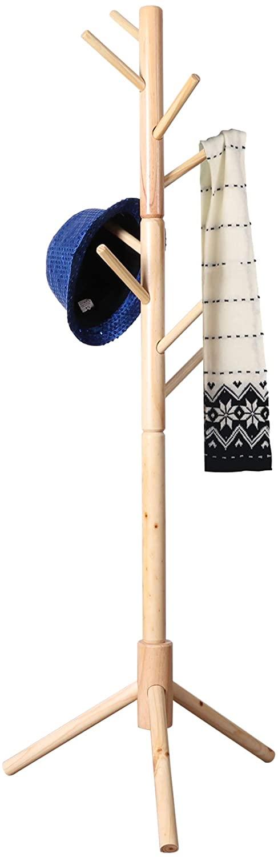 Neasyth Kid's Wooden Coat Rack, Free Standing Tree Hanger 8 Hooks Organizer Furniture in Living Room, Bedroom, Entryway for Hat, Scarves, Satchel, Umbrella Etc. Easy Assembly (Natural)