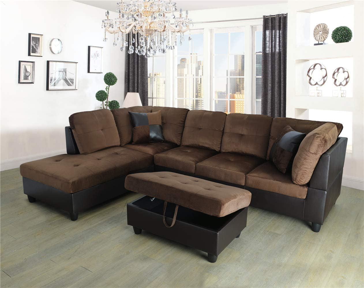 Ainehome 3 PCS Living Room Set, Sectional Sofa Set, Sectional Sofa in Home, with Storage Ottoman and Matching Pillows (Left Hand Facing, Chocolate)