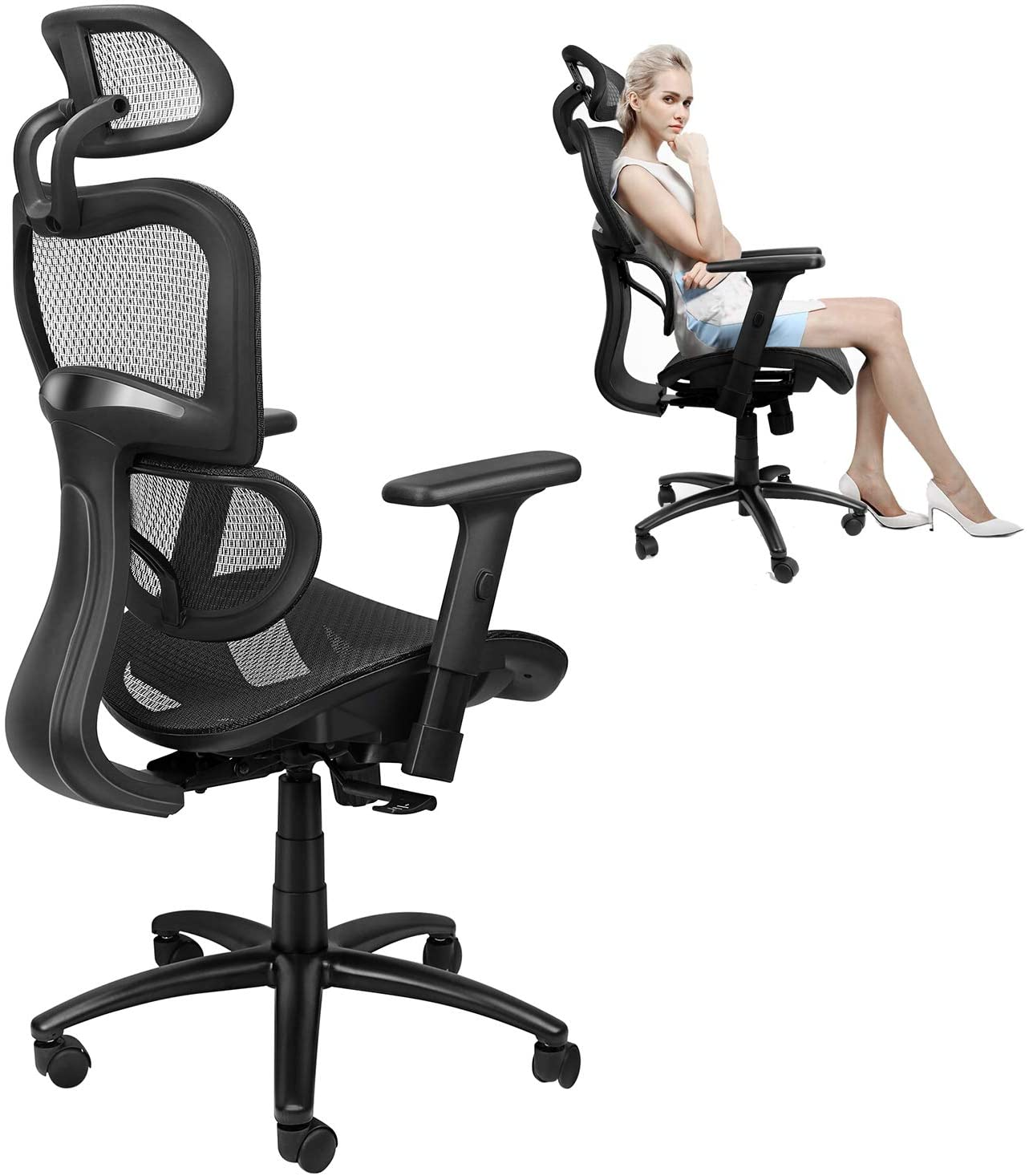 Home Office Chair Ergonomic Desk Task Chair with Lumbar Support and Tilt Limiter, High Back Mesh Computer Chair Multifunction Headrest, Executive Chair Adjust 3D-Armrest (Black)