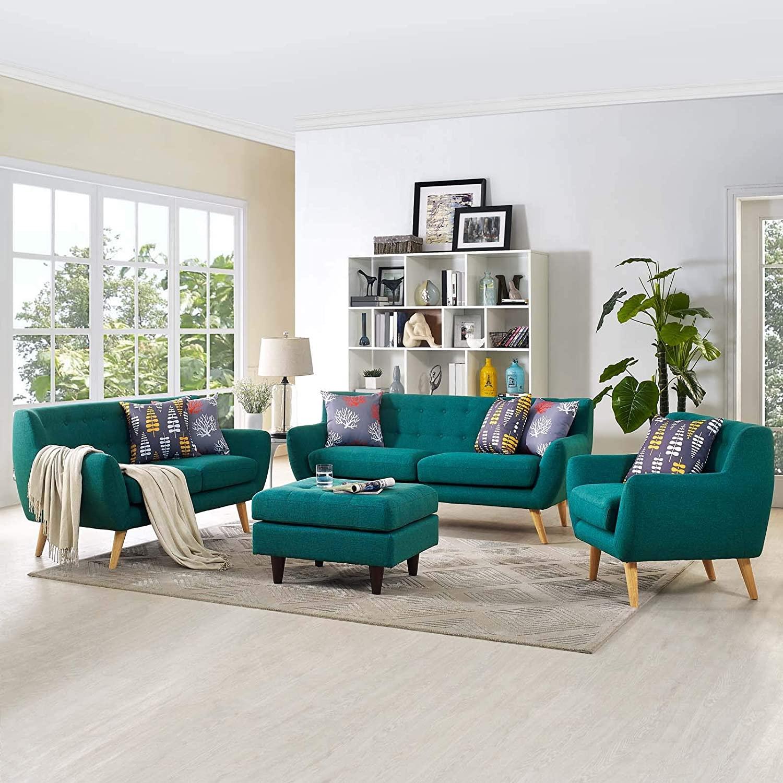 Modway Remark Mid-Century Modern Upholstered Fabric Living Room Set, Armchair/Loveseat/Sofa, Teal