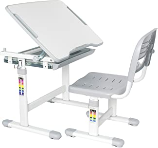 VIVO Gray Height Adjustable Childrens Desk and Chair Set | Kids Interactive Workstation