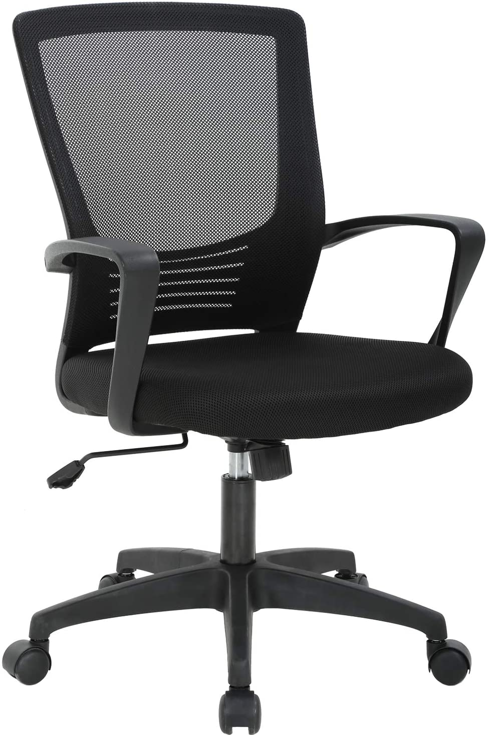 Office Chair Ergonomic Desk Chair Swivel Rolling Computer Chair Executive Lumbar Support Task Mesh Chair Metal Base for Home&Office, Black