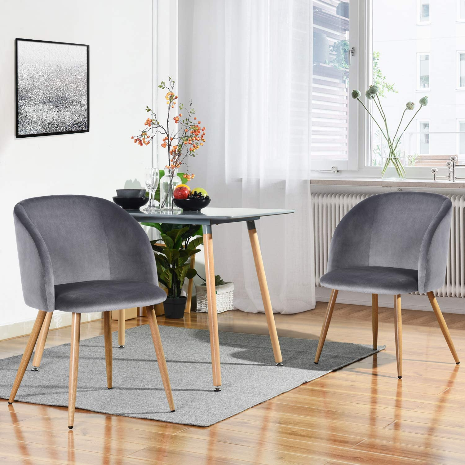 HomyCasa Dining Chair Accent Chair Set of 2 for Living Room, Side Chair Guest Chair Velvet Fabric Ergonomic Padded Seat Armrest with Metal Legs Scandinavian Style Indoor Coffee Shop Grey