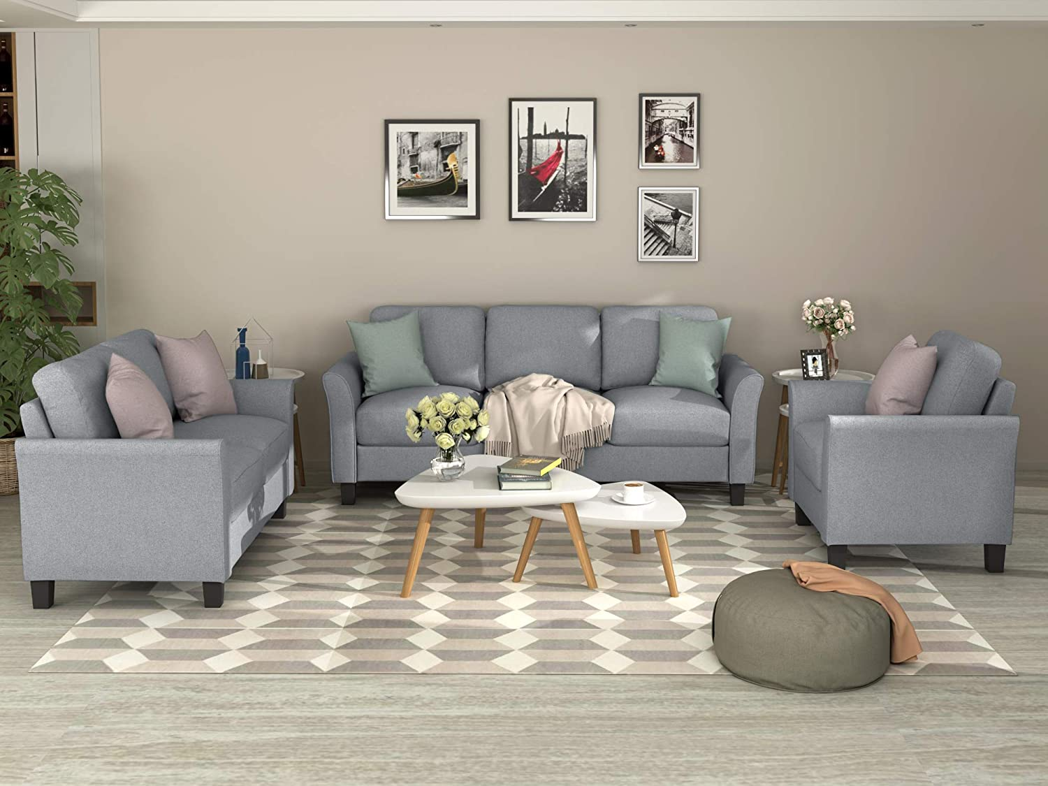 3 Pieces Living Room Sets, Living Room Furniture Sofa Set Include Armchair Loveseat Couch