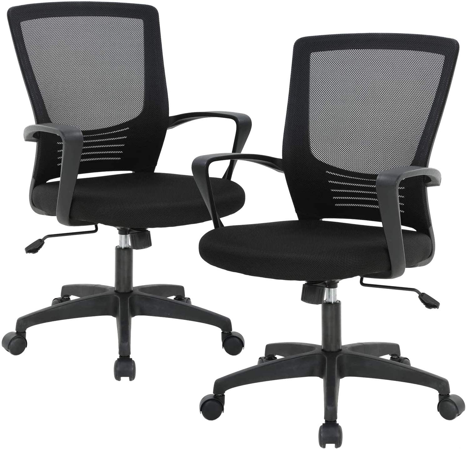 Home Ergonomic Desk Office Chair Mesh Computer Chair, Lumbar Support Modern Executive Adjustable Stool Rolling Swivel Chair for Back Pain, Chic Modern Best Home Office Chair, Black Metal Base - 2 Pack