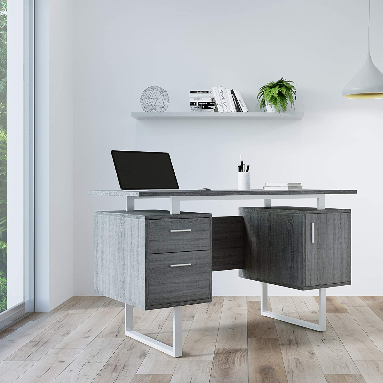 Techni Mobili RTA-7002-GRY Modern Office Desk with Storage, Gray
