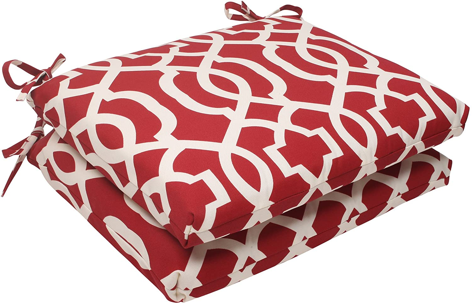 Pillow Perfect Outdoor/Indoor New Geo Square Corner Seat Cushions, 18.5 in. L X 16 in. W X 3 in. D, Red, 2 Pack