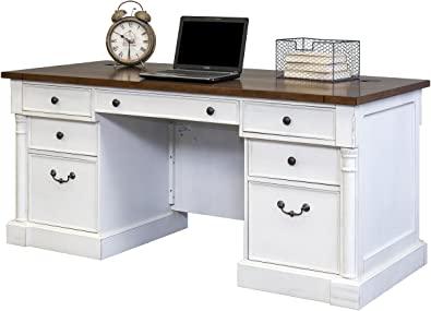 Martin Furniture Durham Double Pedestal Executive Desk, White
