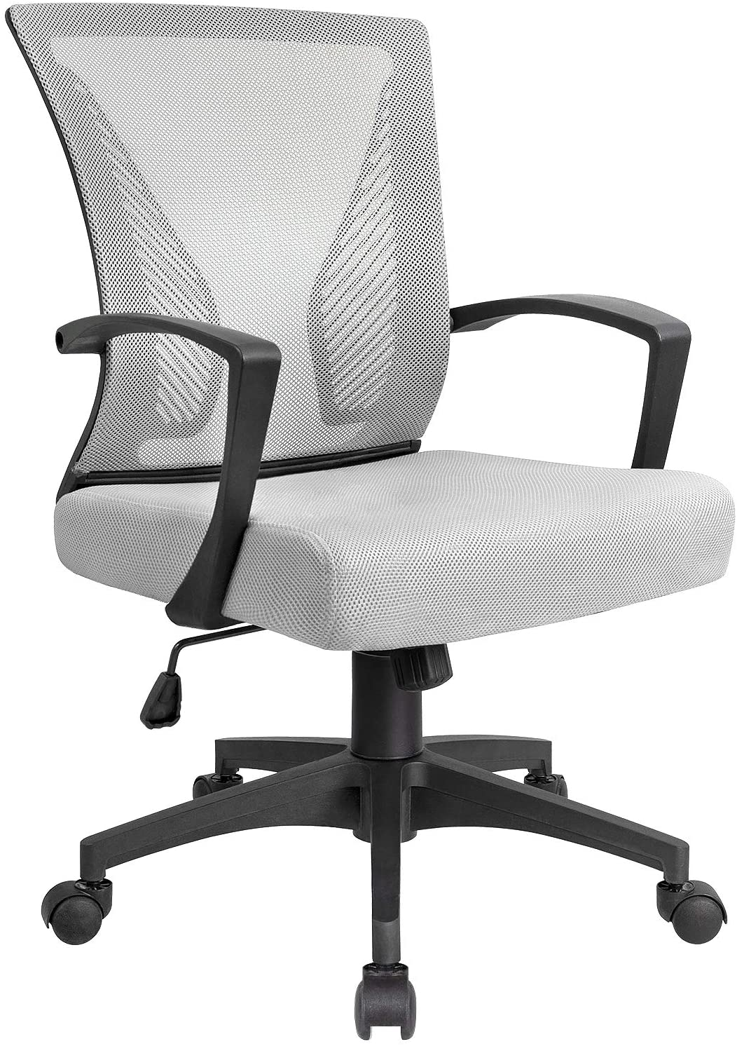 KaiMeng Office Chair Mesh Mid Back Ergonomic Computer Chair with Lumbar Support Swilvel Desk Chair (Grey)