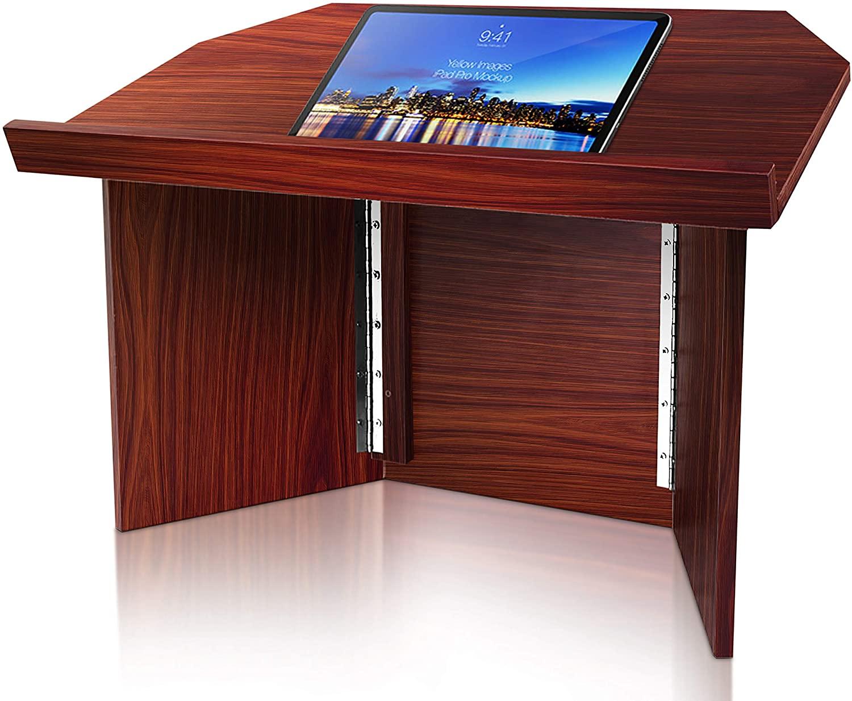 Foldable Desktop Lectern Podium Stand - Portable Folding Tabletop Desk Teacher Speaker Lecture Classroom Presentation Stand, Laptop Computer Book Holder, Collapsible for Easy Storage - Pyle PLCTND41, WOOD