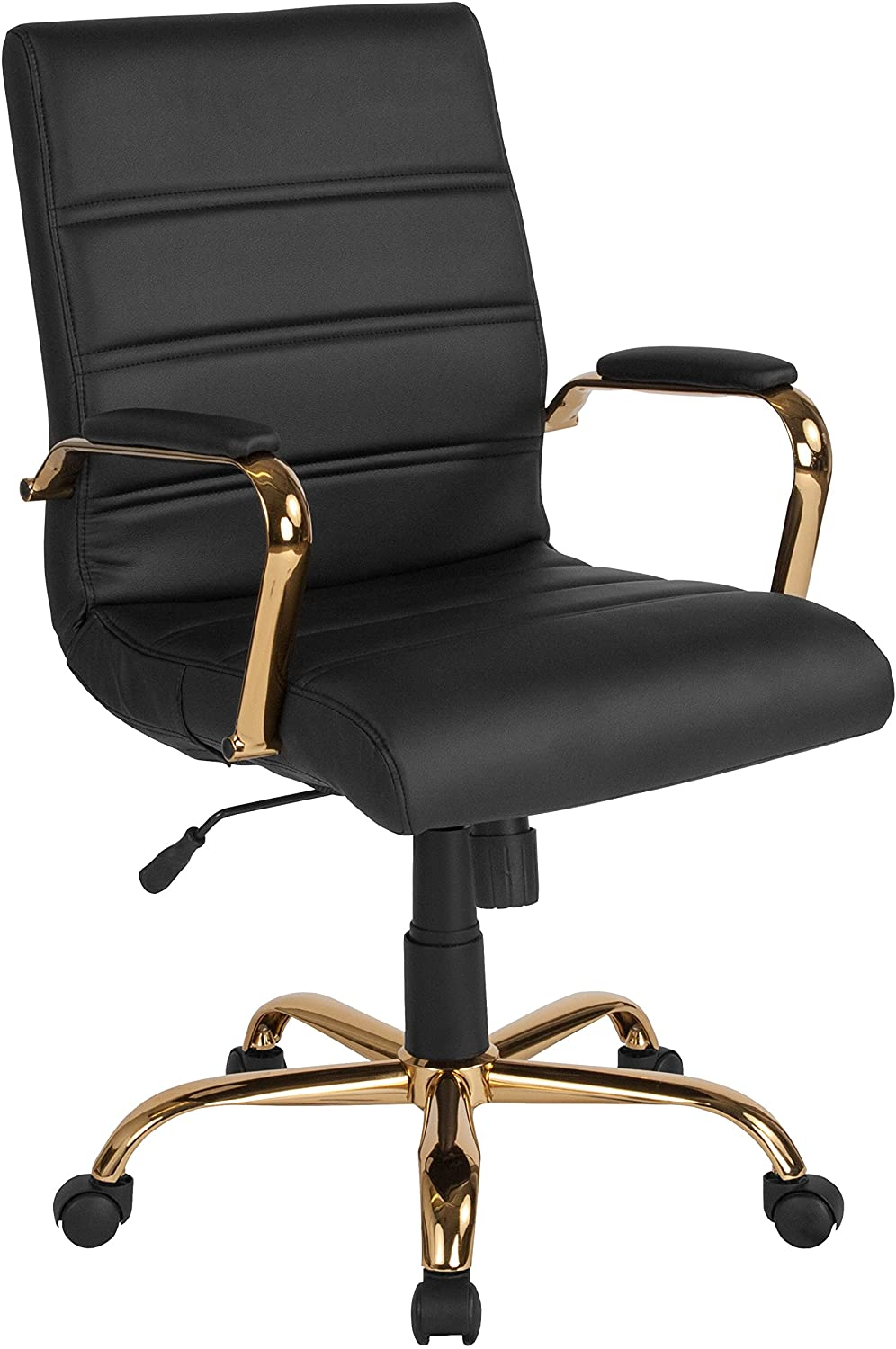 Flash Furniture Mid-Back Black LeatherSoft Executive Swivel Office Chair with Gold Frame and Arms, BIFMA Certified