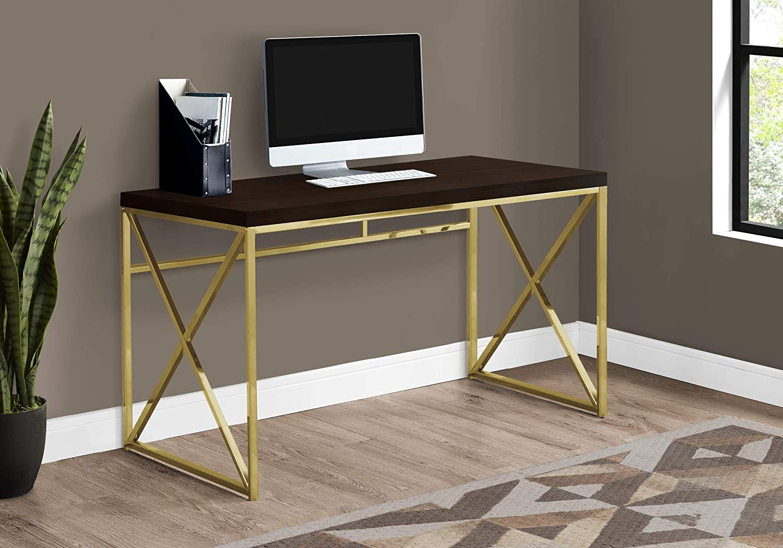 "Monarch Specialties Computer Desk - Contemporary Home & Office Desk - Scratch-Resistant - 48"" L (Cappuccino)"
