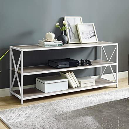 Walker Edison Furniture Company 2 Shelf Industrial Wood Metal Bookcase Bookshelf Office Storage, 60 Inch, Grey Wash/White