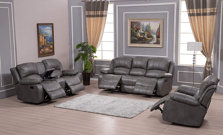 Betsy Furniture Bonded Leather Recliner Set Living Room Set, Sofa Loveseat Chair Pillow Top Backrest and Armrests 8018 (Grey, Living Room Set 3+2+1)