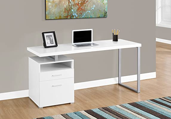 Monarch Specialties Computer Writing Desk for Home & Office Laptop Table with Drawers Open Shelf and File Cabinet-Left or Right Set Up, 60
