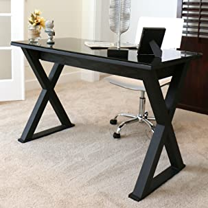 WE Furniture Modern Farmhouse X Wood Laptop Computer Writing Desk Home Office Workstation Small, 48 Inch, Black