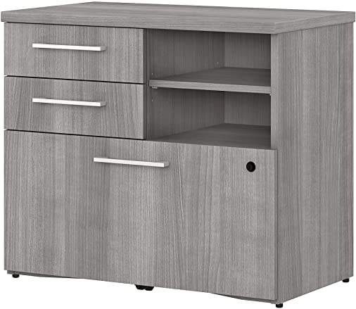 Bush Business Furniture 400 Series Lateral File Cabinet with Shelves, 30W, Platinum Gray