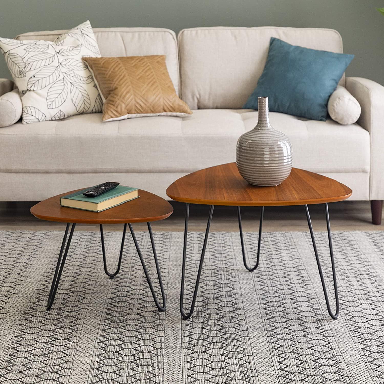 Walker Edison Furniture Company Mid Century Modern Hairpin Coffee Table Set Living Room, Nesting, Walnut