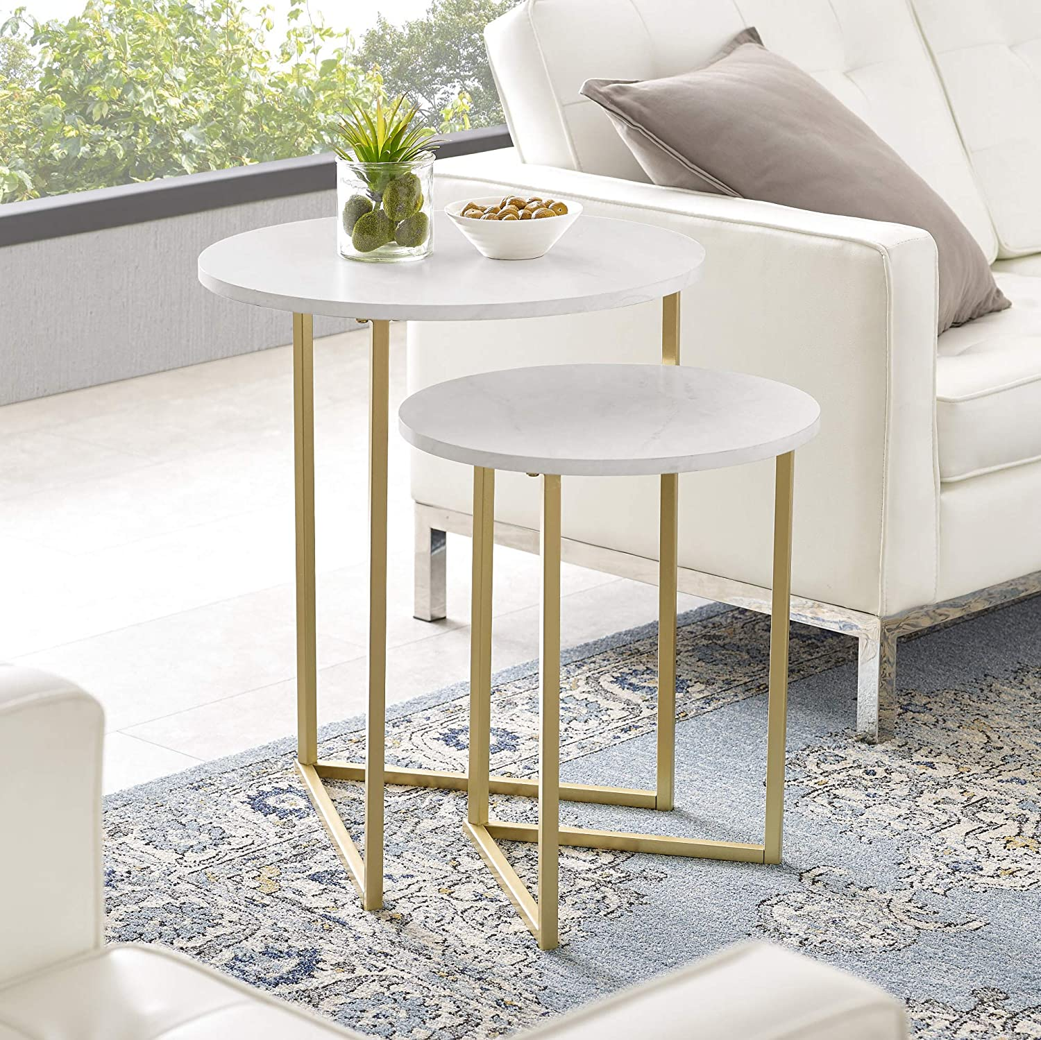 Walker Edison Furniture Company Modern Round Metal Base Nesting Set Side Accent Living Room Storage Small End Table, Set of 2, White Marble/Gold