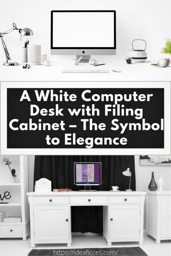 A White Computer Desk with Filing Cabinet