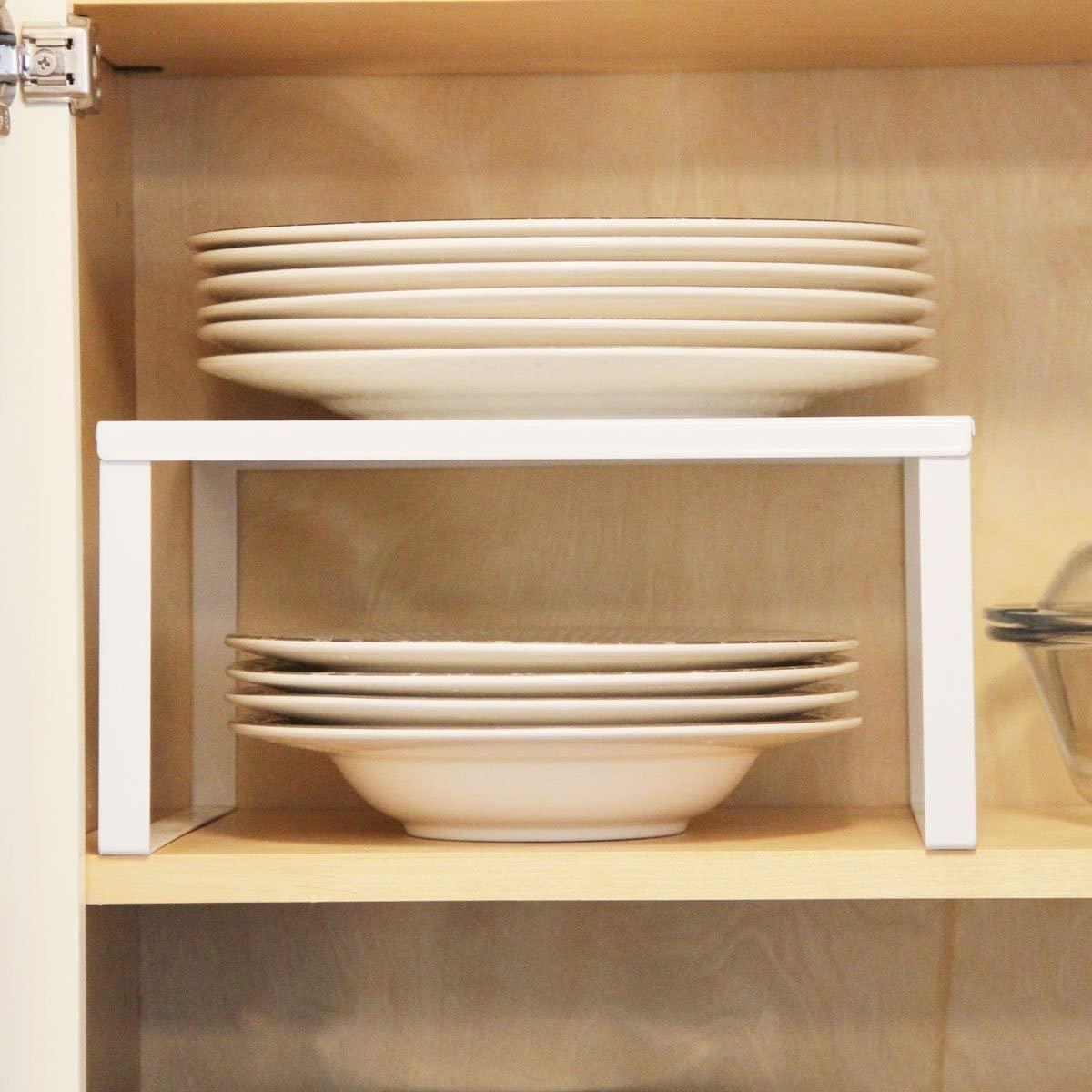 Cream White Metal Kitchen Cabinet and Counter Top Organizer Shelf, 13 inch Wide 11 inch deep