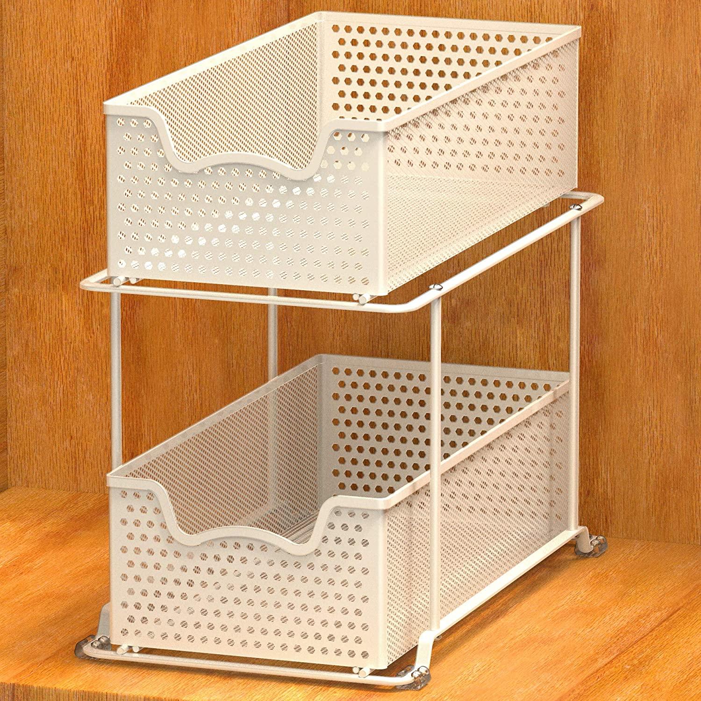 Simple Houseware 2 Tier Sliding Cabinet Basket Organizer Drawer, White