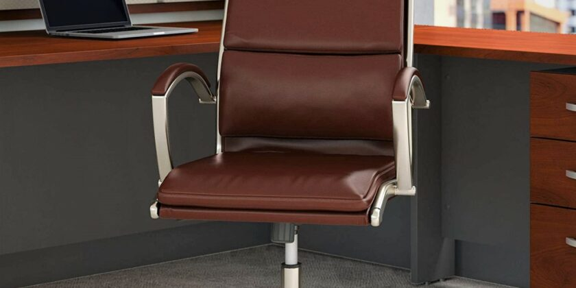 Bush Business Furniture C Series Harvest Cherry High Back Leather Executive Office Desk Chair