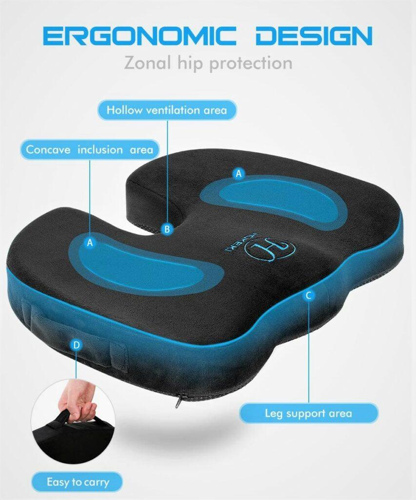 Hokeki Memory Foam Coccyx Cushion Designed for Office Chair