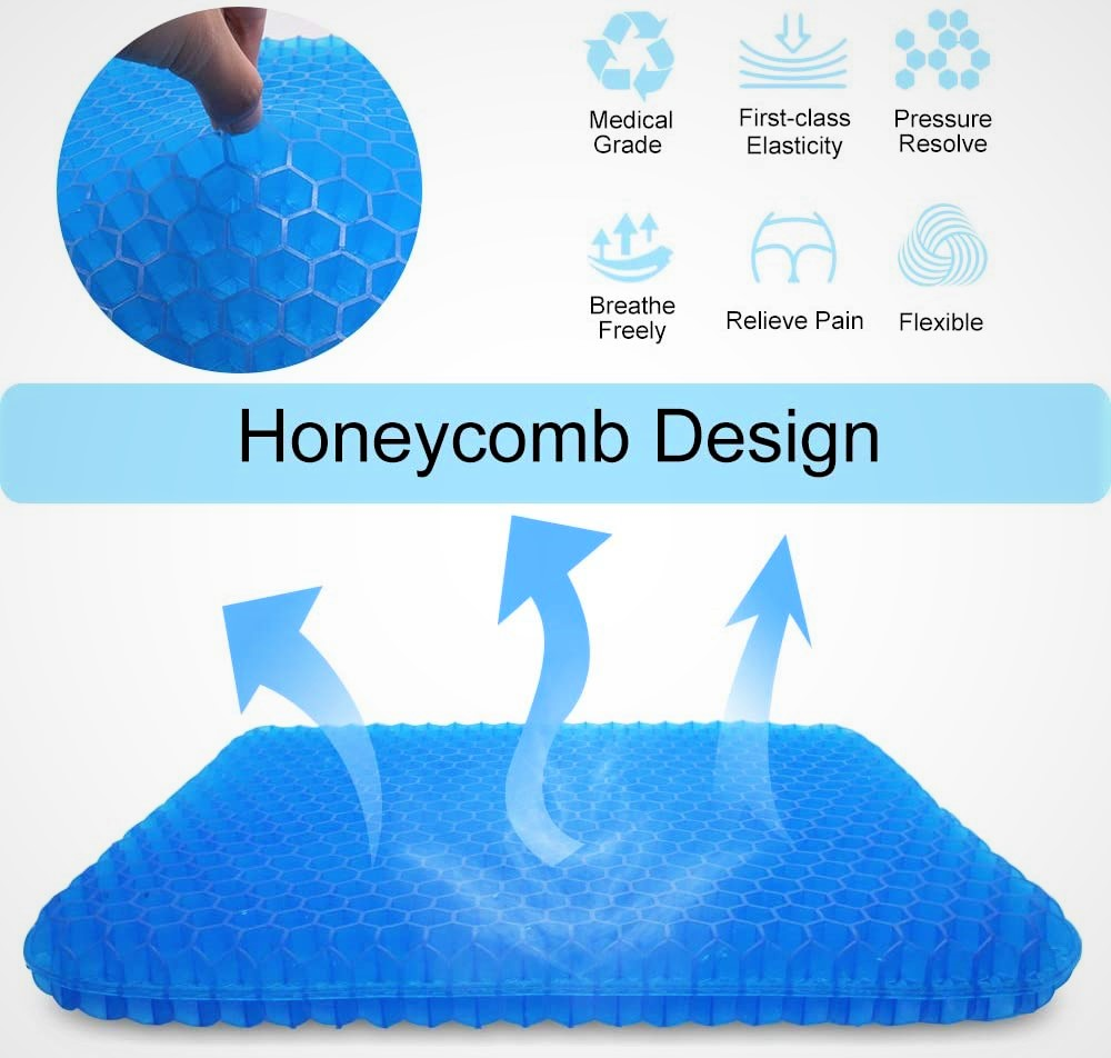 Puzzle Big Breathable Gel Seat Cushion with Honeycomb Design