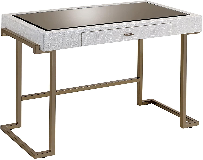 ACME Furniture Acme Boice Desk, White PU & Champagne, One Size