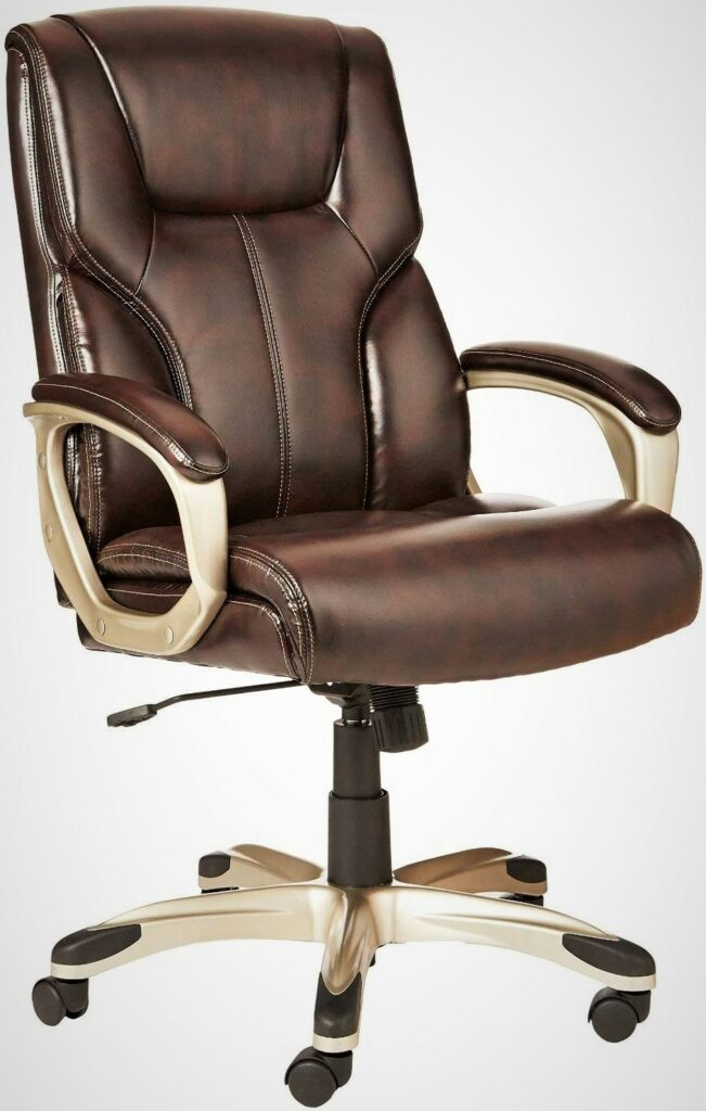 AmazonBasics High-Back Executive Brown Leather Office Desk Chair with Casters