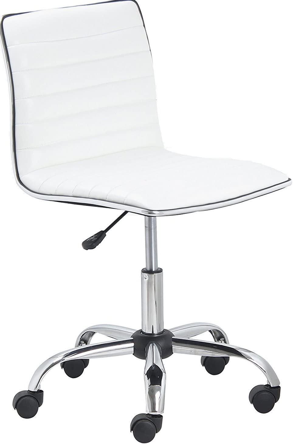 BTEXPERT BTExpert Swivel Mid Back Armless Ribbed Designer Task Chair Leather Soft Upholstery Office Chair - White