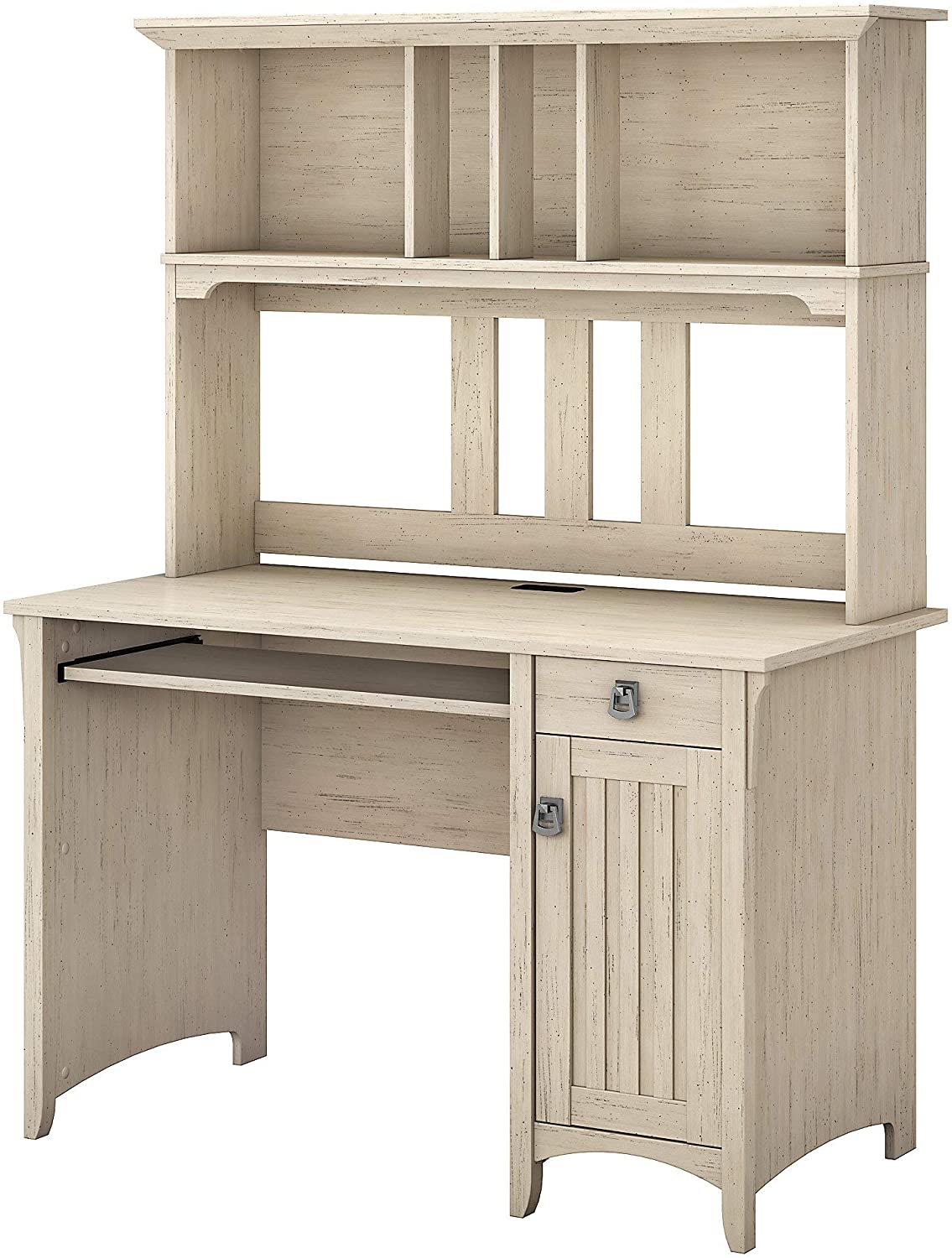 Bush Furniture Salinas Mission Desk and Hutch in Antique White