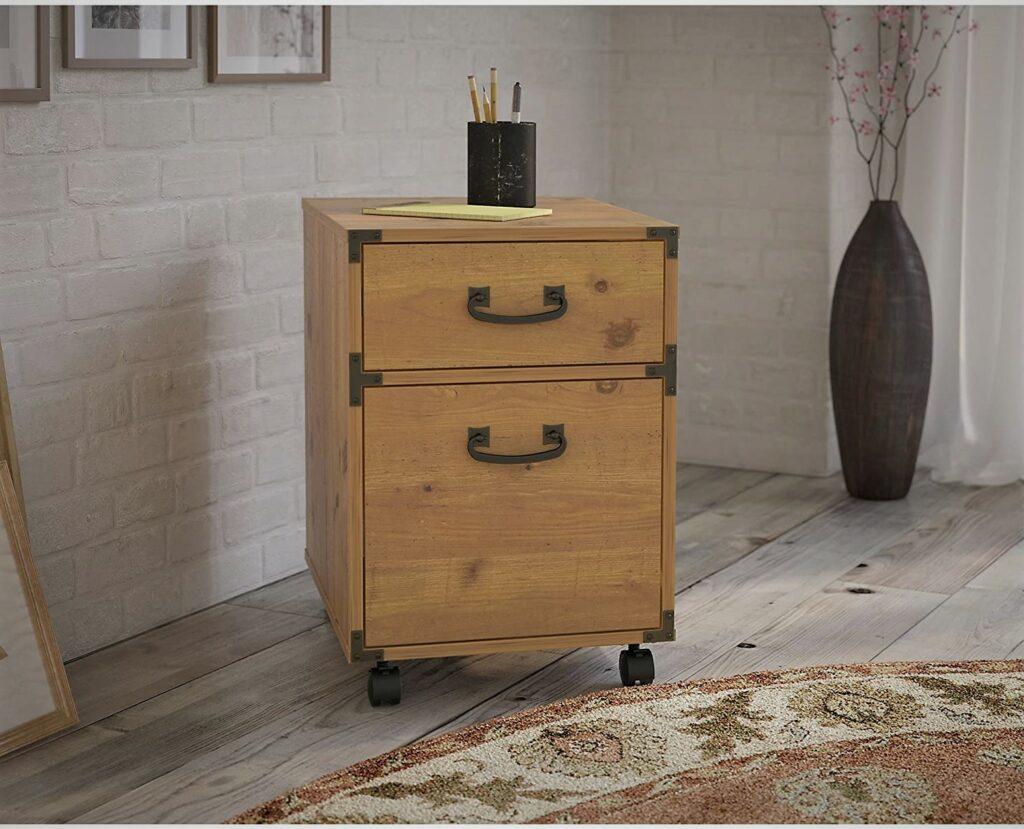Bush Ironworks 2 Drawer Golden Pine Mobile Office File Cabinet