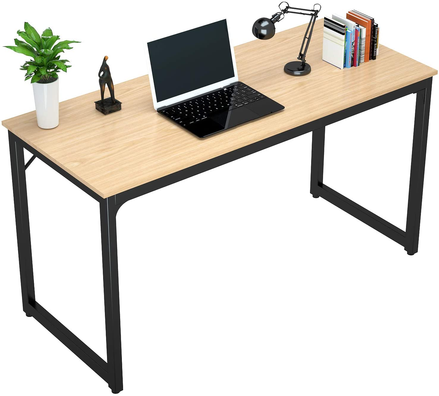 """Foxemart 47"""" Computer Desk Modern Sturdy Office Desk PC Laptop Notebook Study Writing Table for Home Office Workstation, Natural"""