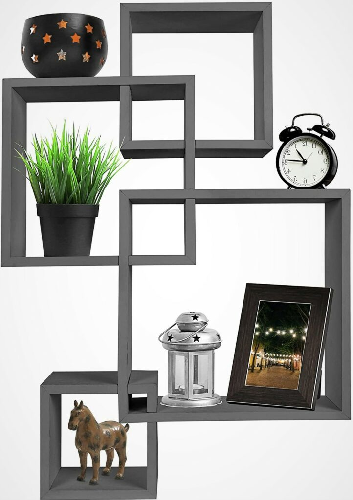 Greenco 4 Cube Intersecting Grey Wall Mounted Floating Shelves