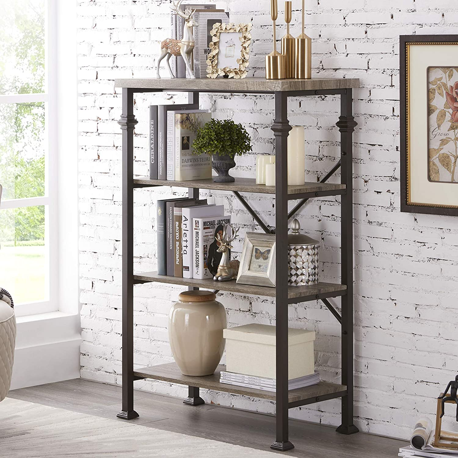 Hombazaar 4-Tier Industrial Bookcases, Vintage Open Etagere Bookshelf, Multi-Functional Shelf Units for Collection, Grey Oak