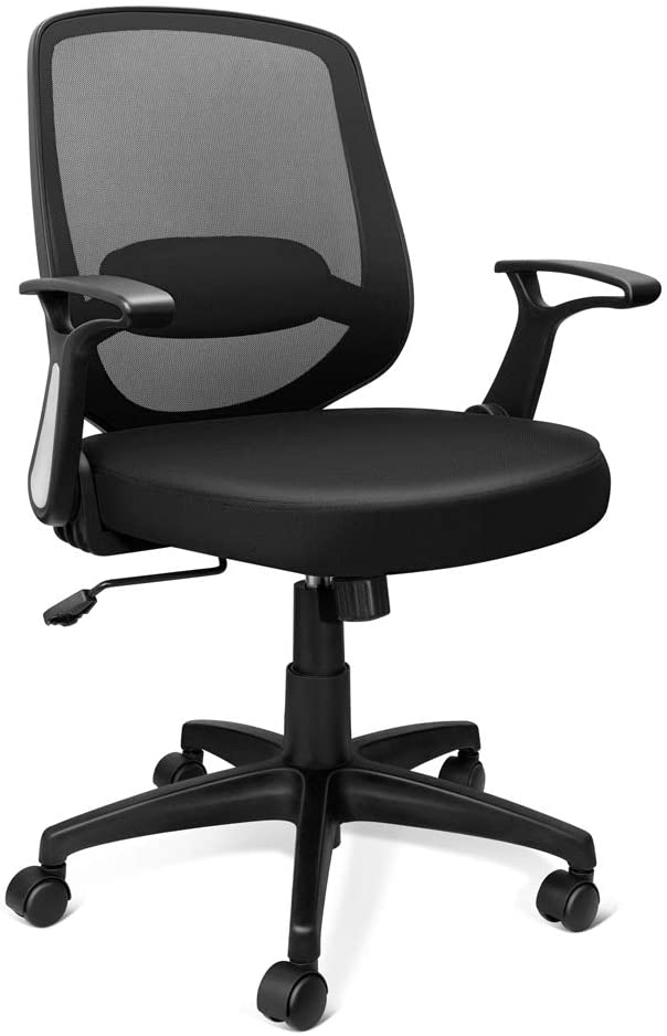 KOLLIEE Mid Back Mesh Office Chair Ergonomic Swivel Black Desk Office Chair Flip Up Armrests with Lumbar Support Adjustable Height Computer Task Chairs