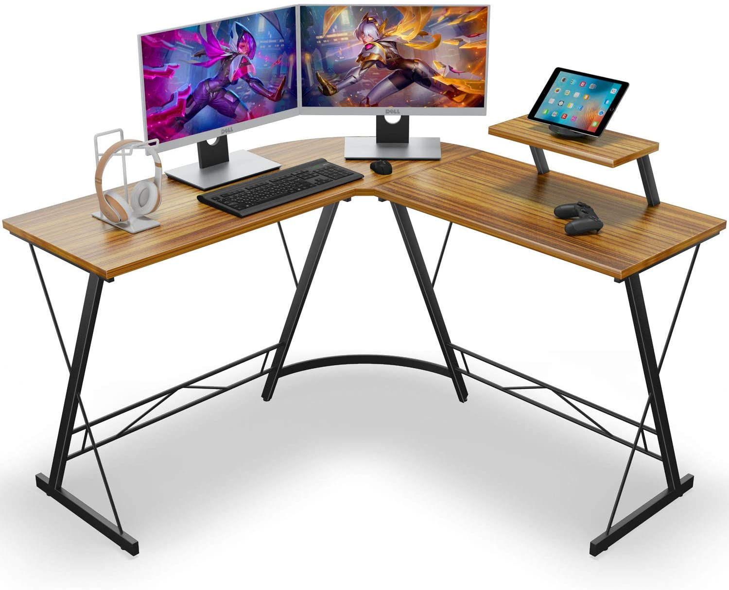 L Shaped Desk Home Office Desk with Round Corner Computer Desk with Large Monitor Stand Desk Workstation,Sandalwood